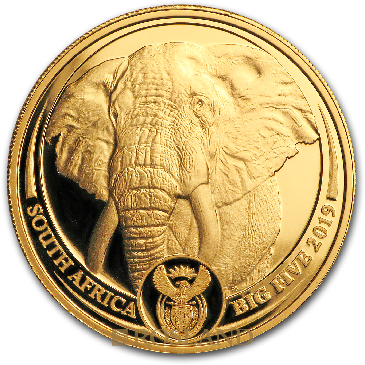1 Unze Goldmünze Big Five Elefant 2019 PP (Box, Zertifikat)
