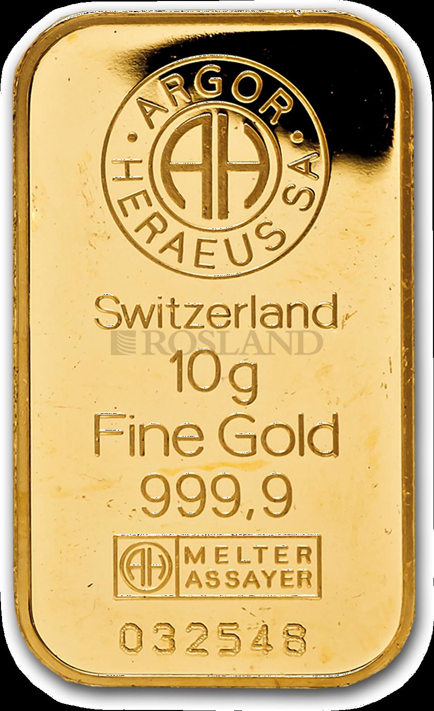 10 Gramm Goldbarren Heraeus Argor Kinebar