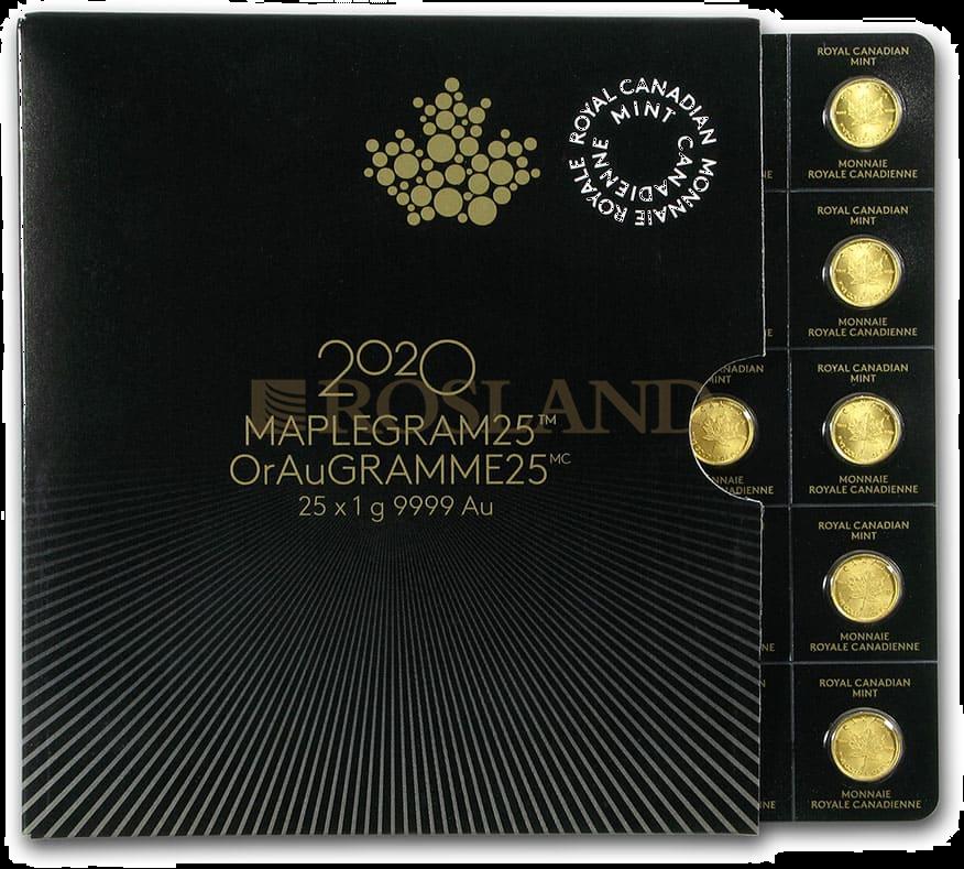 25x1 Gramm Goldmünze Maple Leaf 2020 (Maplegram25™)