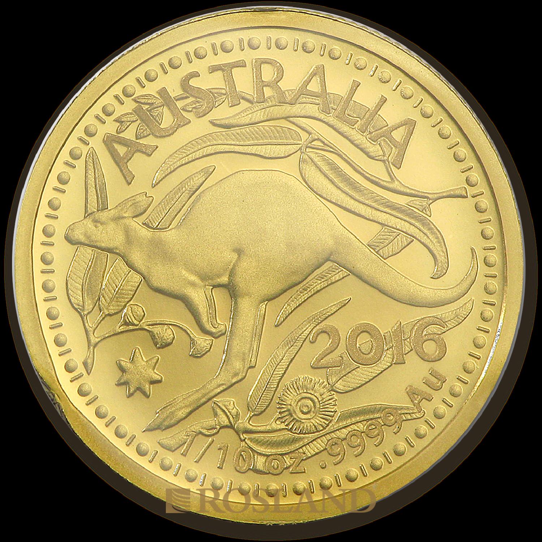 1/10 Unze Goldmünze RAM Känguru 2016