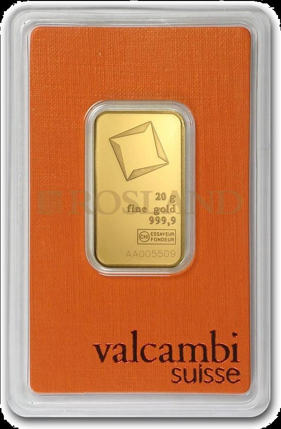 20 Gramm Goldbarren Valcambi