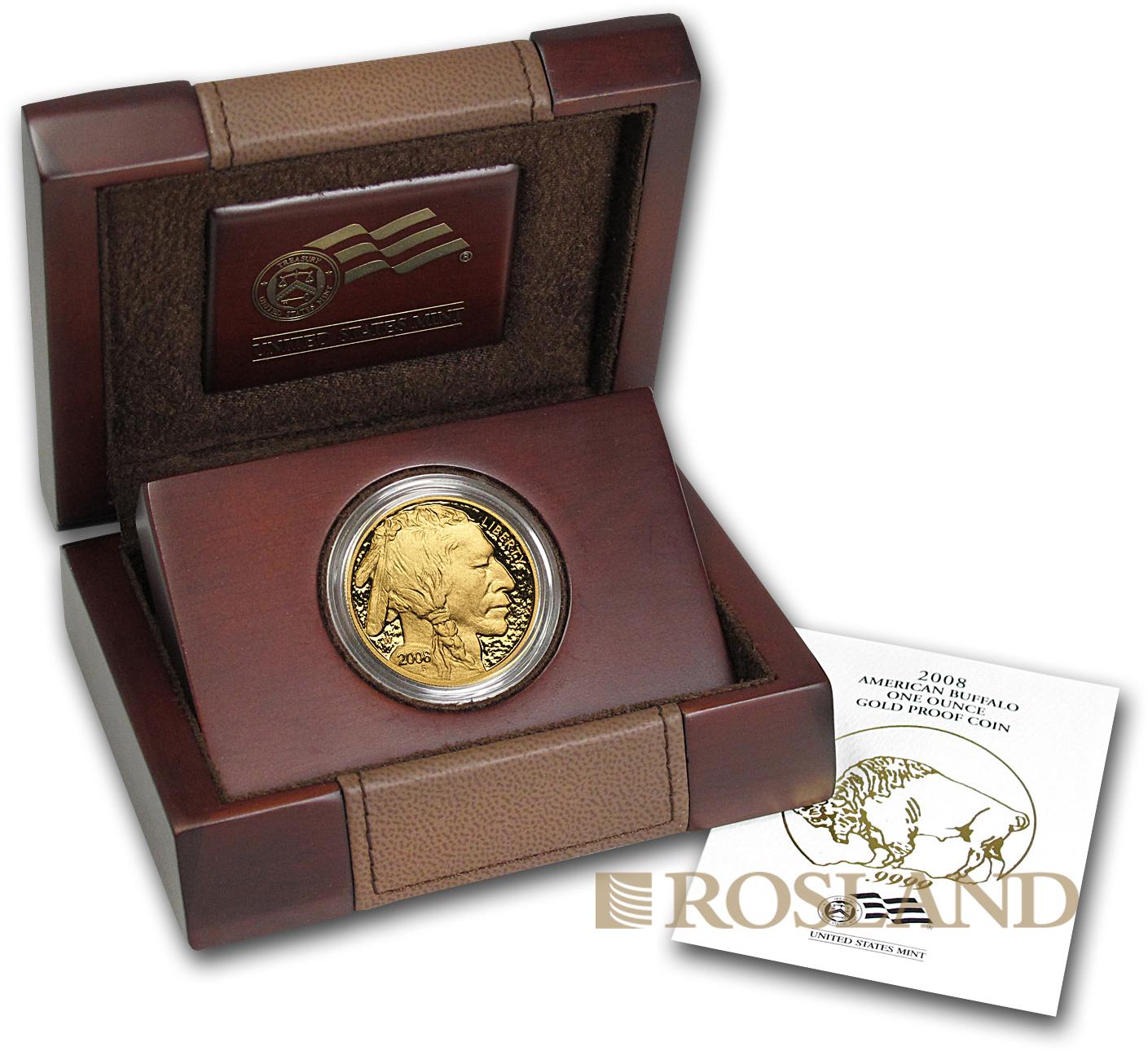 1 Unze Goldmünze American Buffalo 2008 PP (Box, Zertifikat)