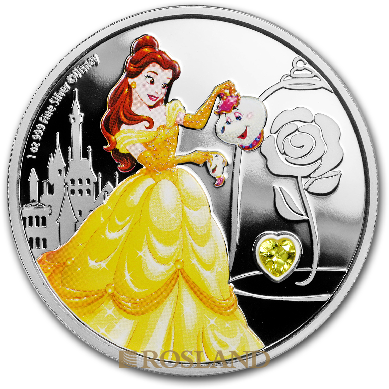 1 Unze Silbermünze Disney© Prinzessin Belle 2018 PP (Edelstein, Koloriert, Box, Zertifikat)