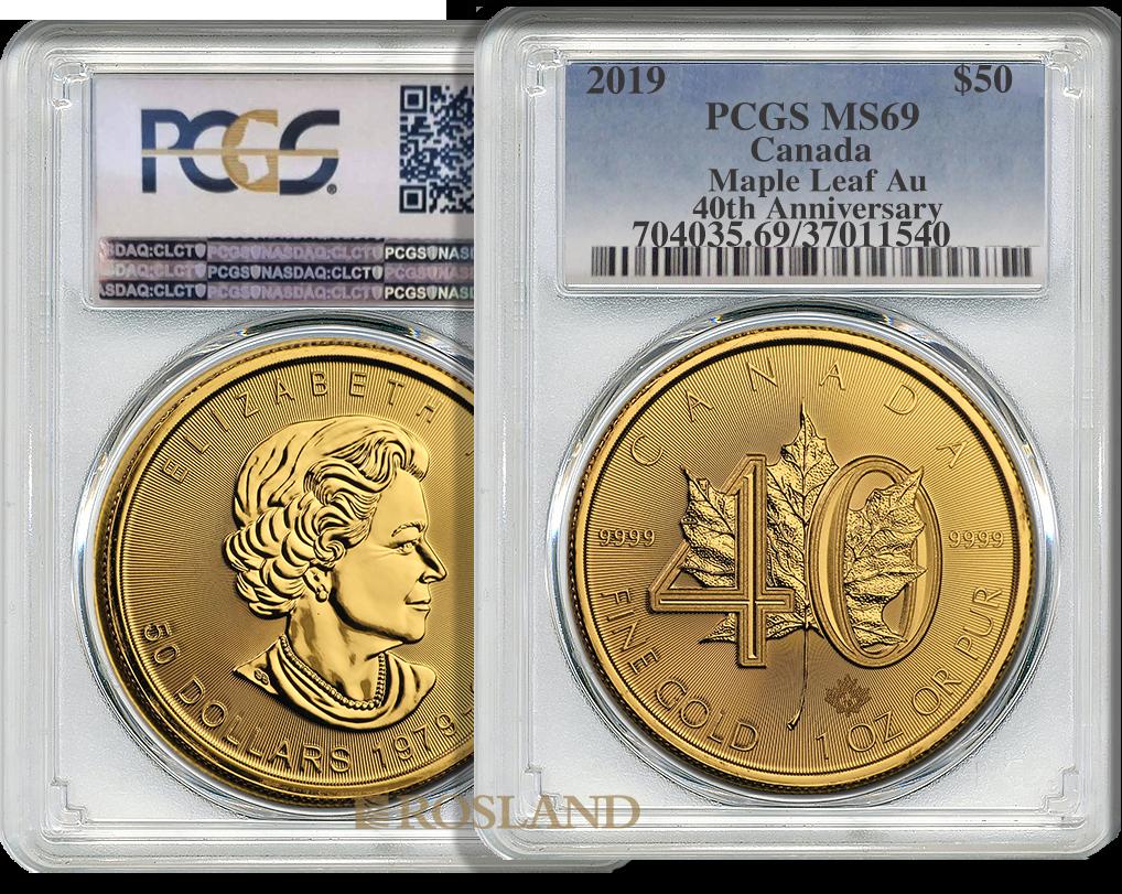 1 Unze Goldmünze Kanada Maple Leaf 2019 40 Jahre PCGS MS-69