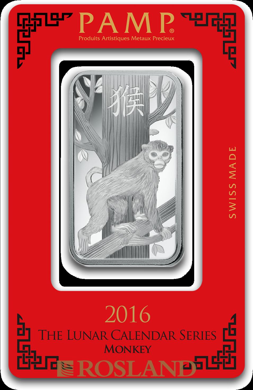 1 Unze Silberbarren PAMP Lunar Jahr des Affen 2016
