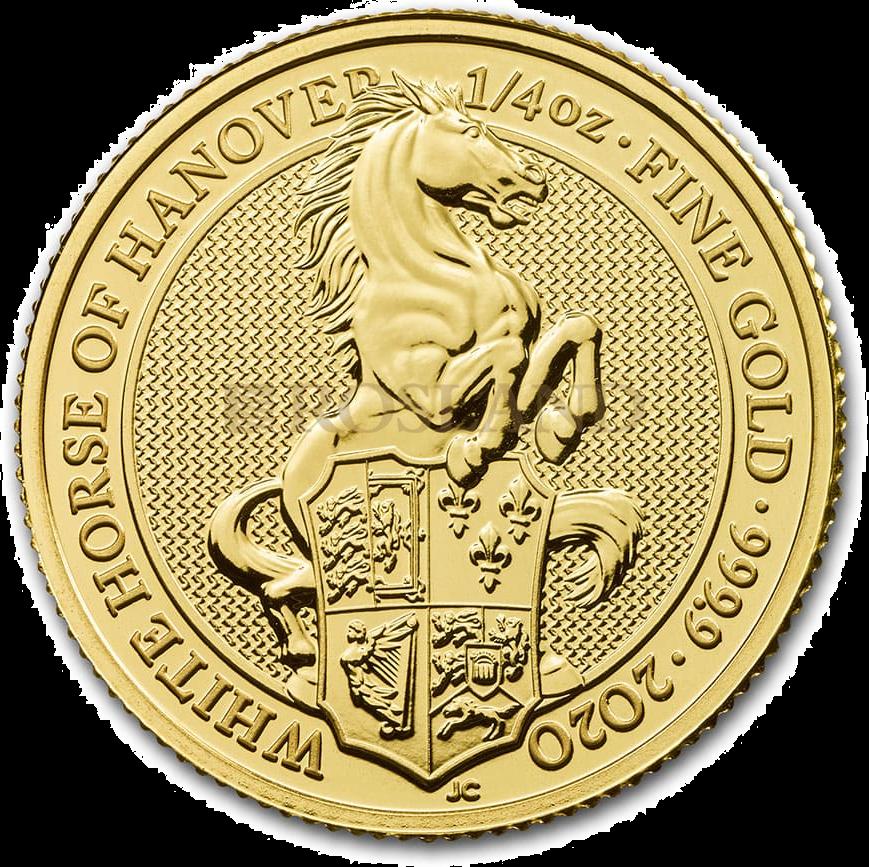 1/4 Unze Goldmünze Queens Beasts White Horse 2020
