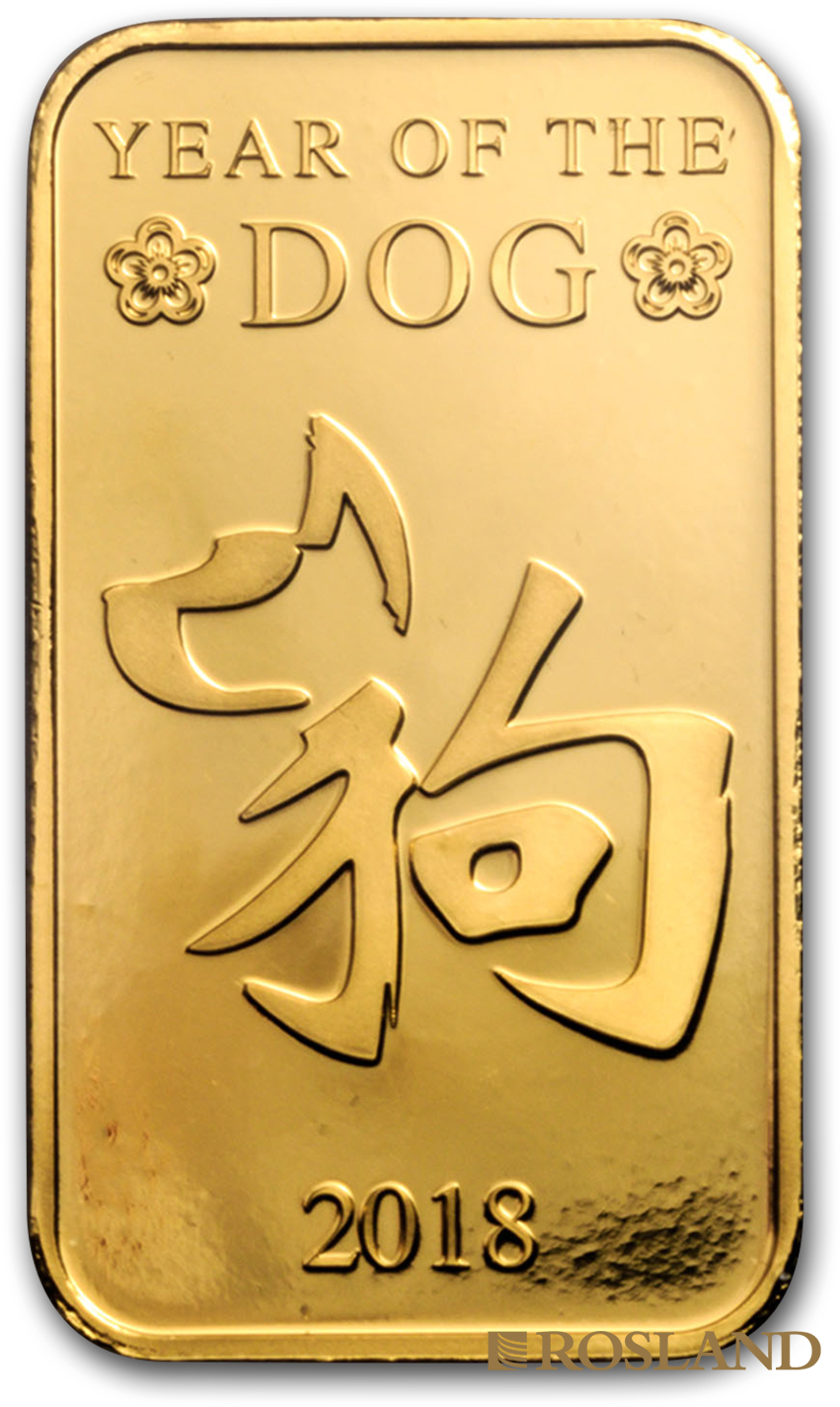 1 Unze Goldbarren Scottsdale Mint Hund