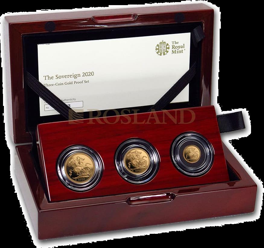 0,41 Unzen - 3 Goldmünzen Set Großbritannien 2020 PP (Box, Zertifikat)