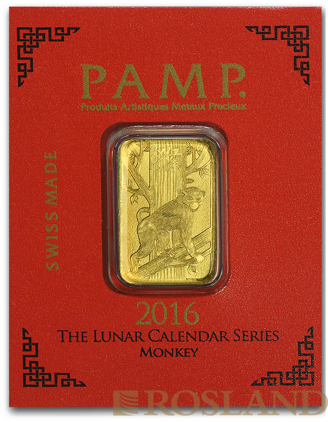 1 Gramm Goldbarren PAMP Lunar Jahr des Affens 2016