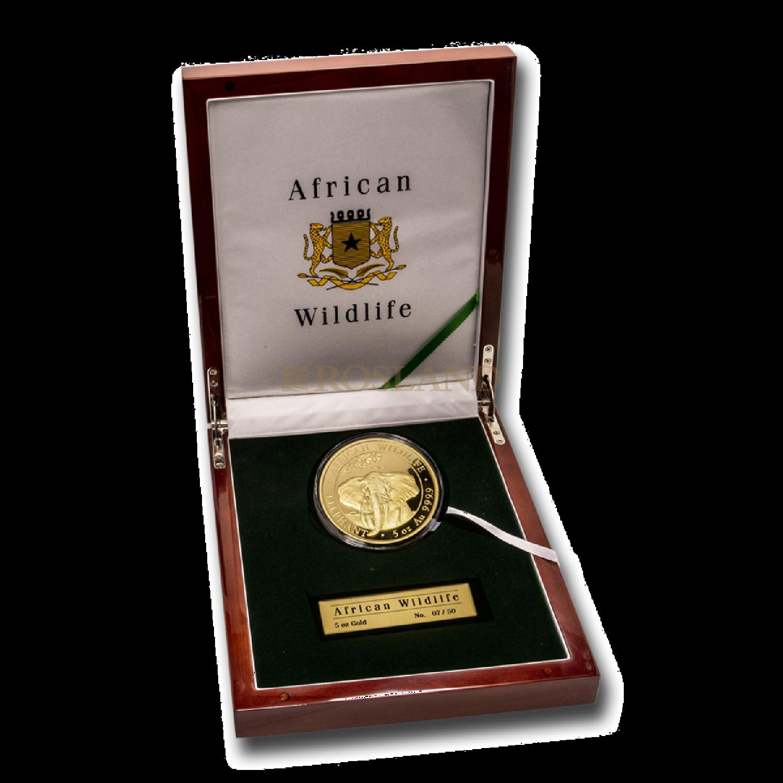 5 Unzen Goldmünze Somalia Elefant 2020 PP (Box, Zertifikat)
