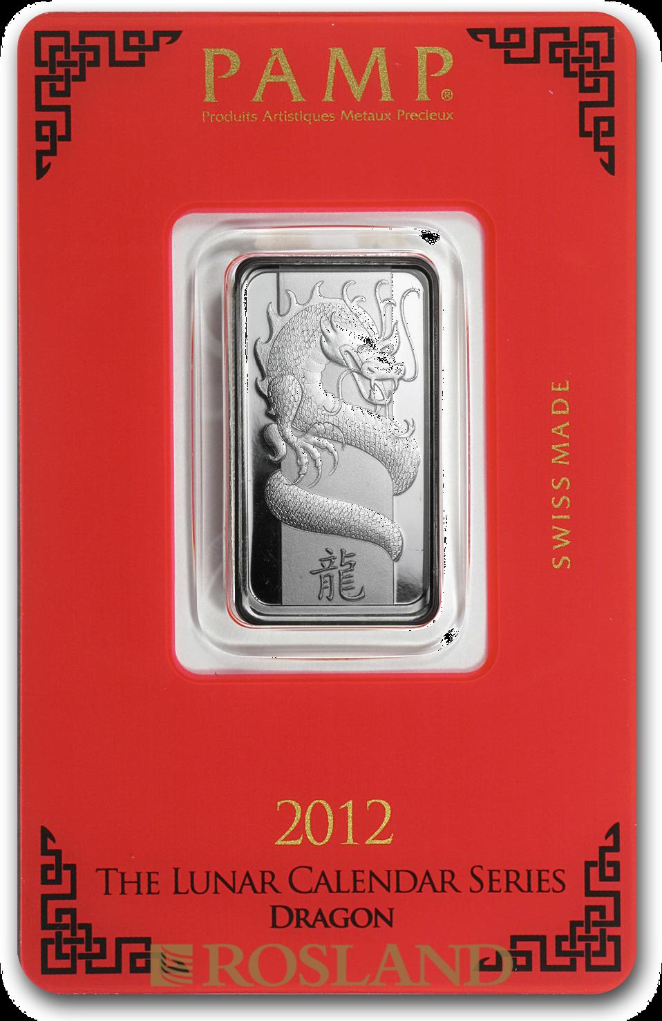 10 Gramm Silberbarren PAMP Lunar Jahr des Drachens 2012
