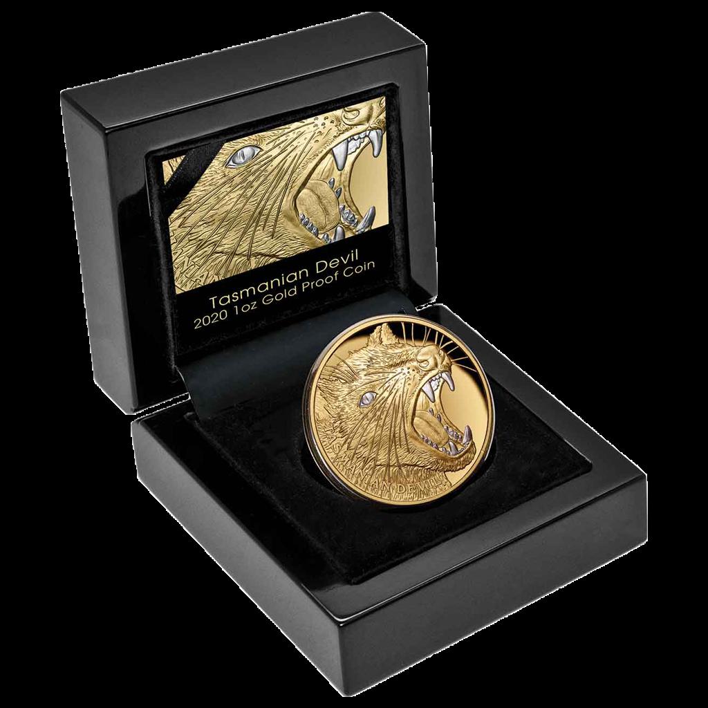 1 Unze Goldmünze Niue Tasmanische Teufel 2020 PP (Box, Zertifikat)