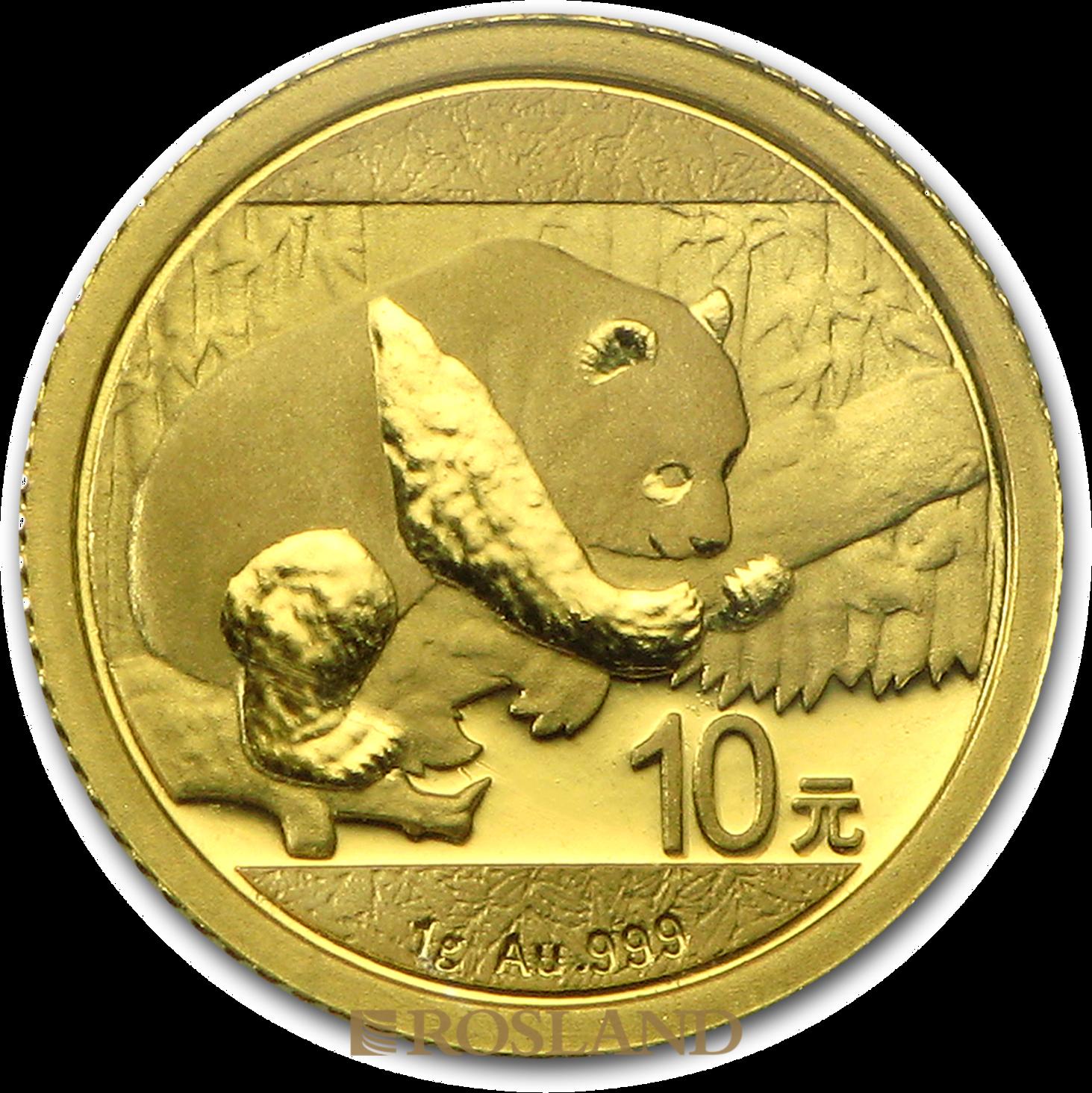 1 Gramm Goldmünze China Panda 2016