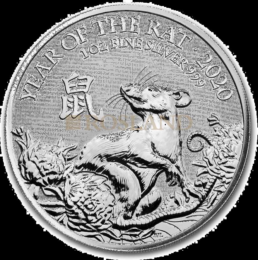 1 Unze Silbermünze Great Britain Jahr der Ratte 2020