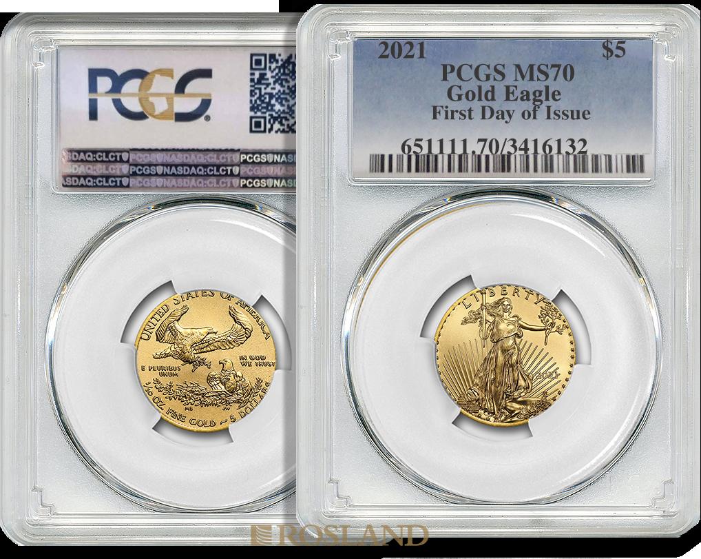 1/10 Unze Goldmünze American Eagle 2021 PCGS MS-70 First Day