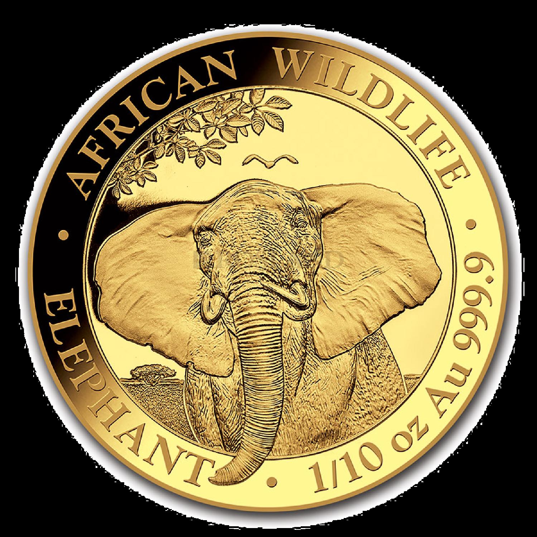 1/10 Unze Goldmünze Somalia Elefant 2021
