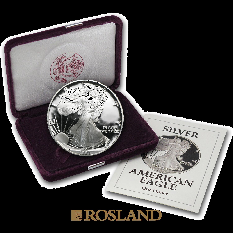 1 Unze Silbermünze American Eagle 1991 (S) PP (Box, Zertifikat)