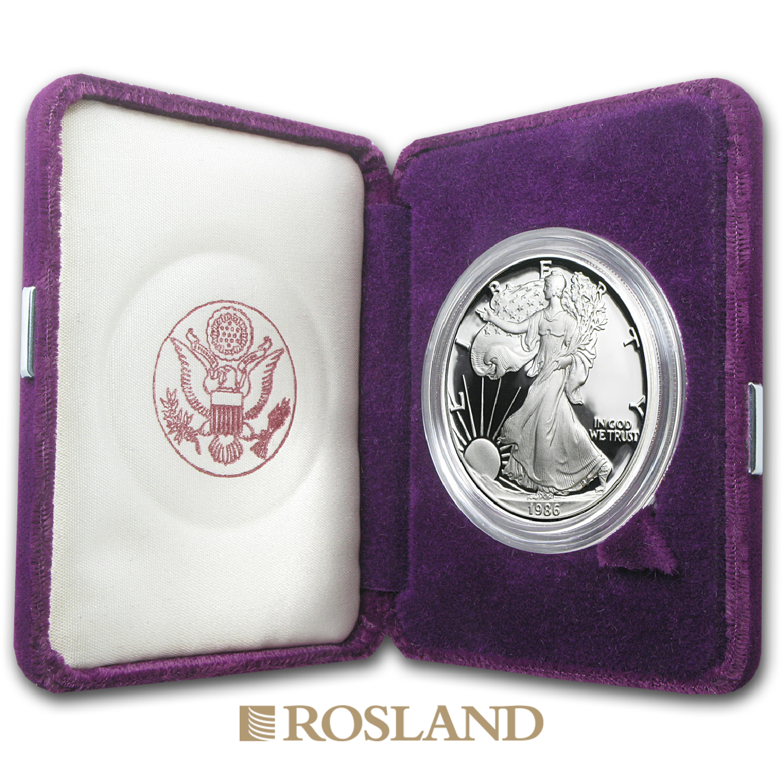 1 Unze Silbermünze American Eagle 1986 (S) PP (Box, Zertifikat)
