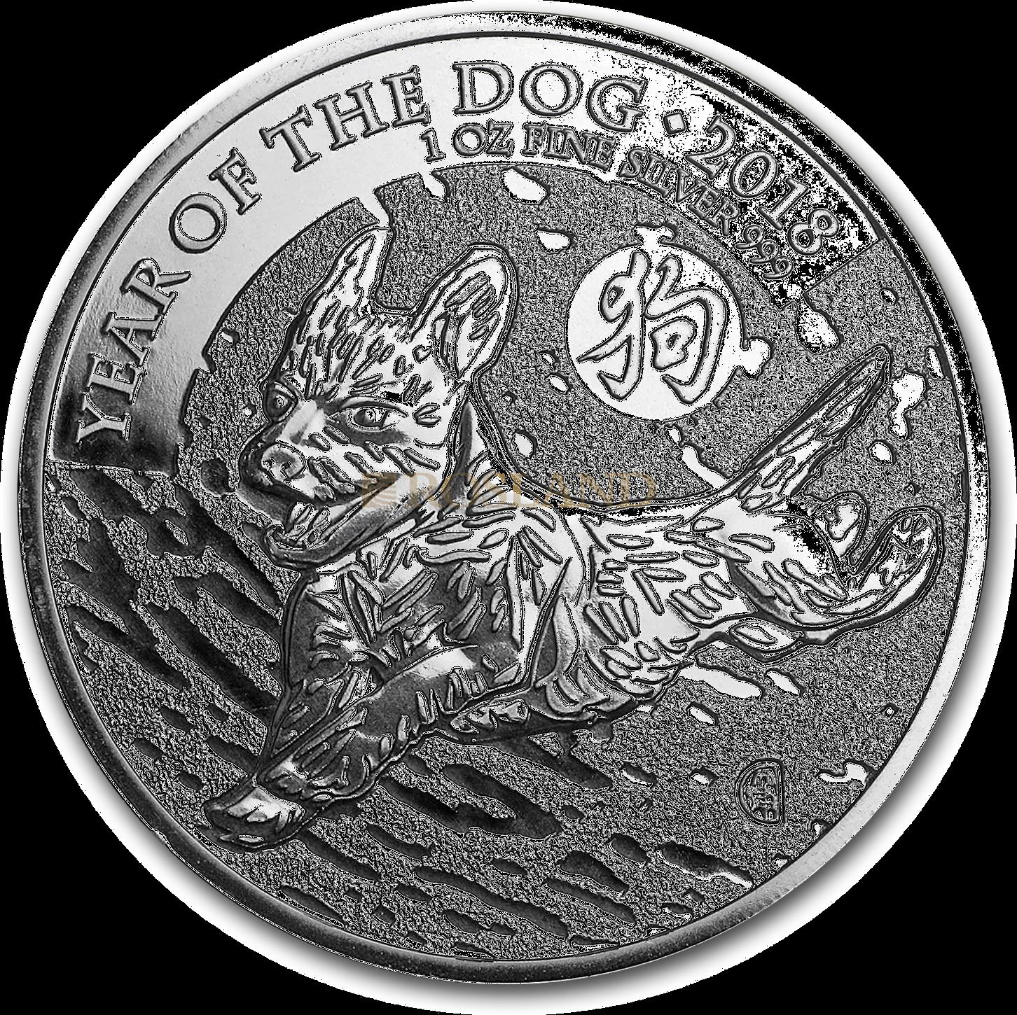 1 Unze Silbermünze Great Britain Jahr des Hundes 2018