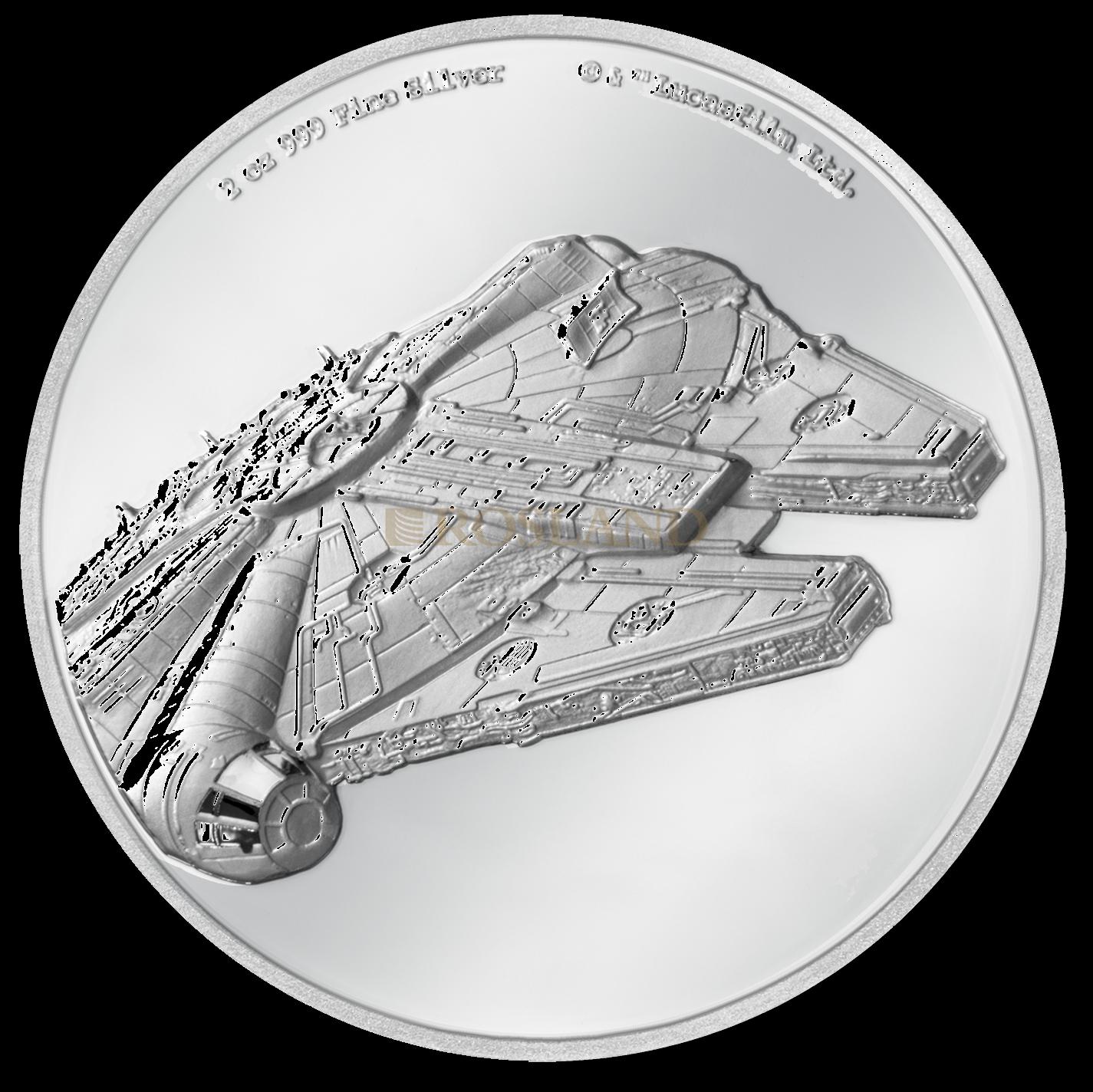 2 Unzen Silbermünze Star Wars™ Millenium Falke 2019 PP (UHR, Box, Zertifikat)