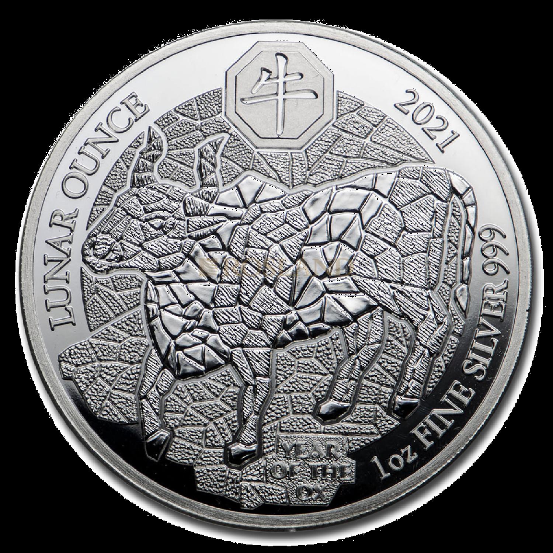 1 Unze Silbermünze Ruanda Lunar Ochse 2021 PP