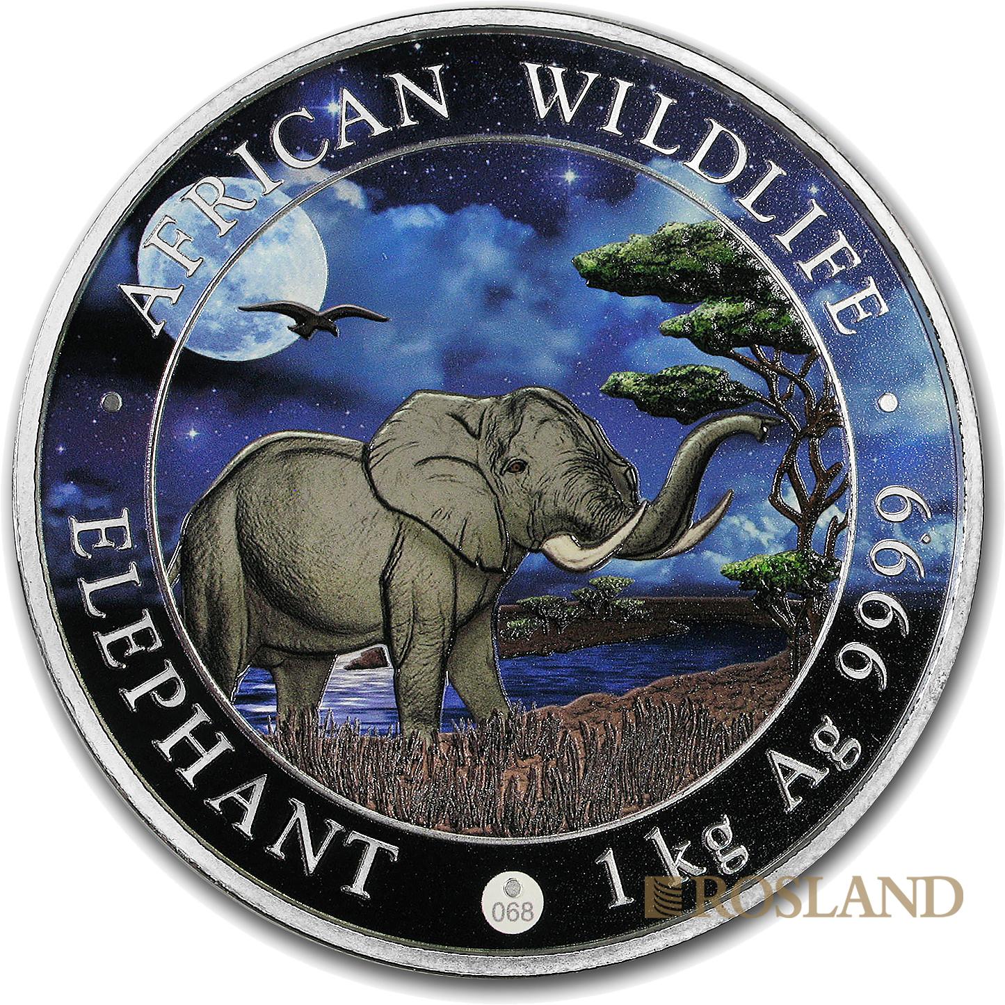 1 Kilogramm Silbermünze Somalia Elefant 2019 Riesenmond PL (Koloriert, Box, Zertifikat)