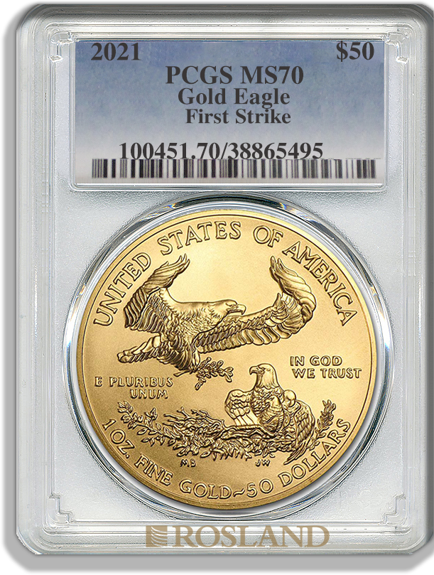 1 Unze Goldmünze American Eagle 2021 PCGS MS-70 First Strike
