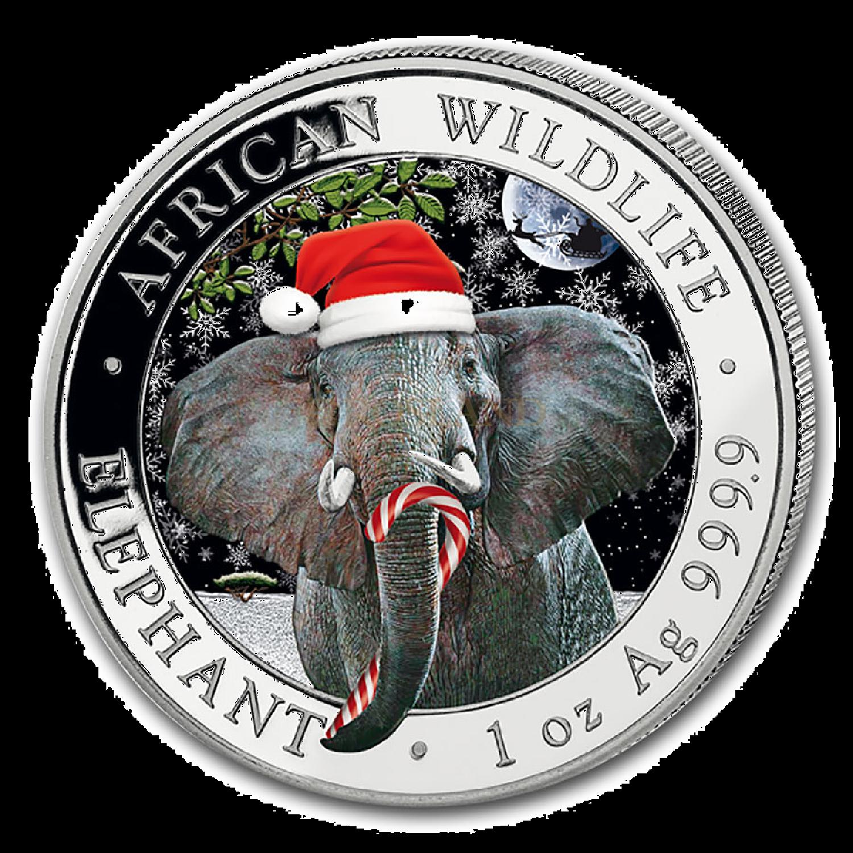 1 Unze Silbermünze Somalia Elefant 2021 Schneekugel (Box, Zertifikat)