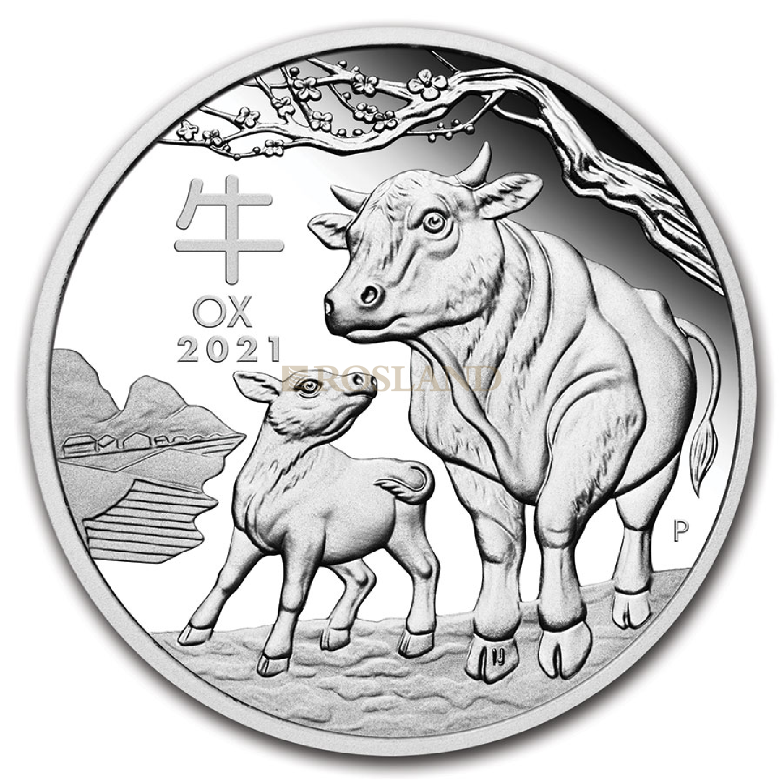 1/2 Unze Silbermünze Lunar 3 Ochse 2021 PP (HR, Box, Zertifikat)