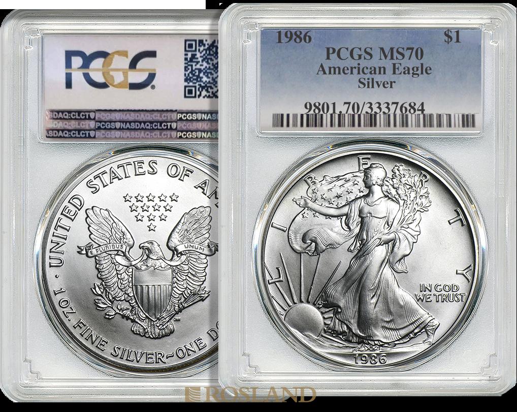 1 Unze Silbermünze American Eagle 1986 PCGS MS-70