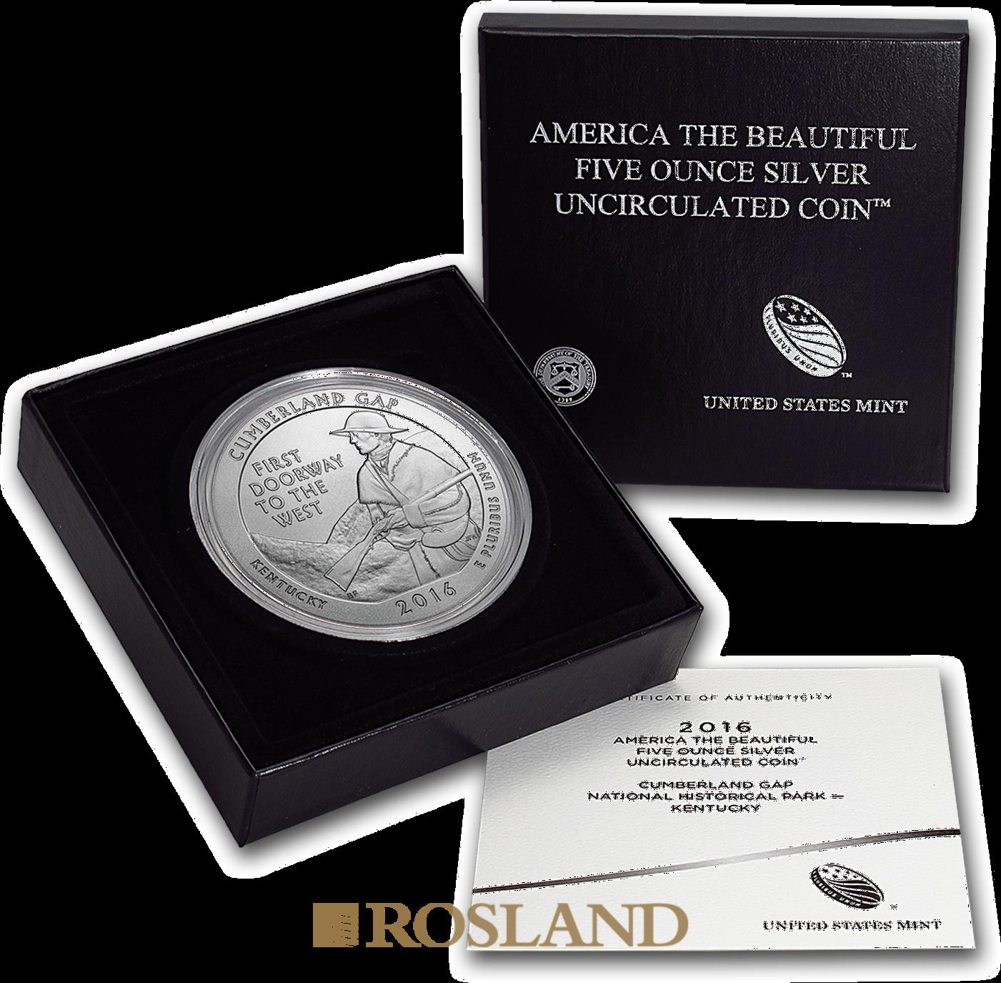 5 Unzen Silbermünze ATB Cumberland Gap National Historical Park 2016 P (Box, Zertifikat)