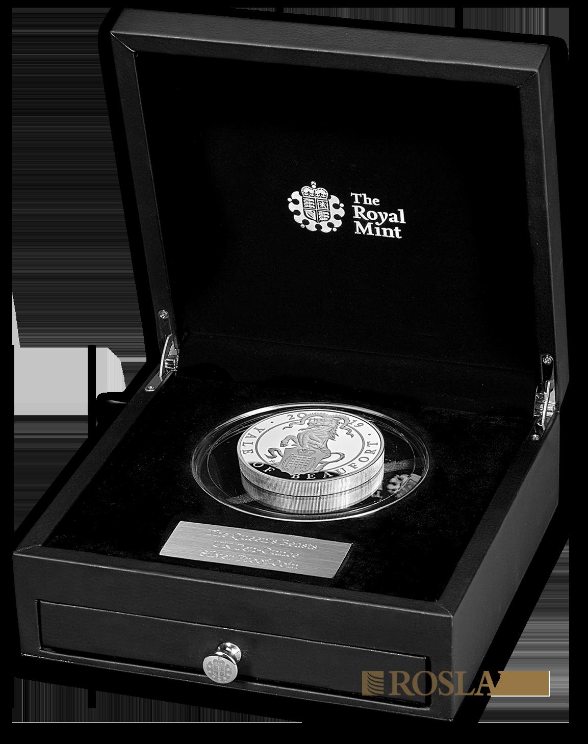 10 Unzen Silbermünze Queens Beasts Yale 2019 PP (Box, Zertifikat)