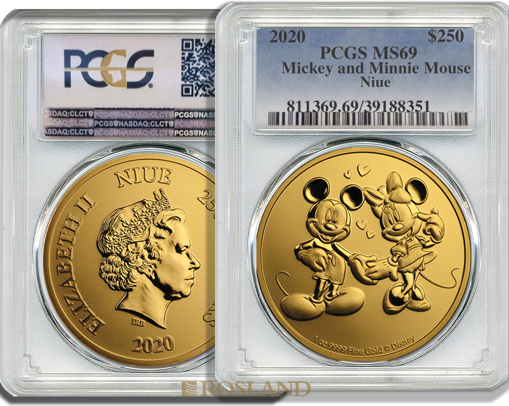 1 Unze Goldmünze Disney® Micky & Minnie Maus 2020 PCGS MS-69