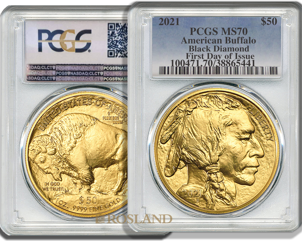 1 Unze Goldmünze American Buffalo 2021 PCGS MS-70 (Black Diamond, FDOI)