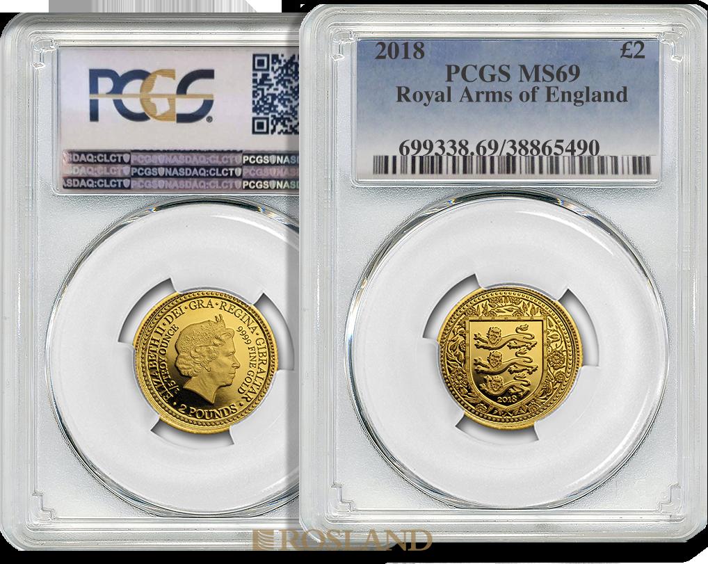 1/5 Unze Goldmünze Great Britain The Royal Arms 2018 PCGS MS-69