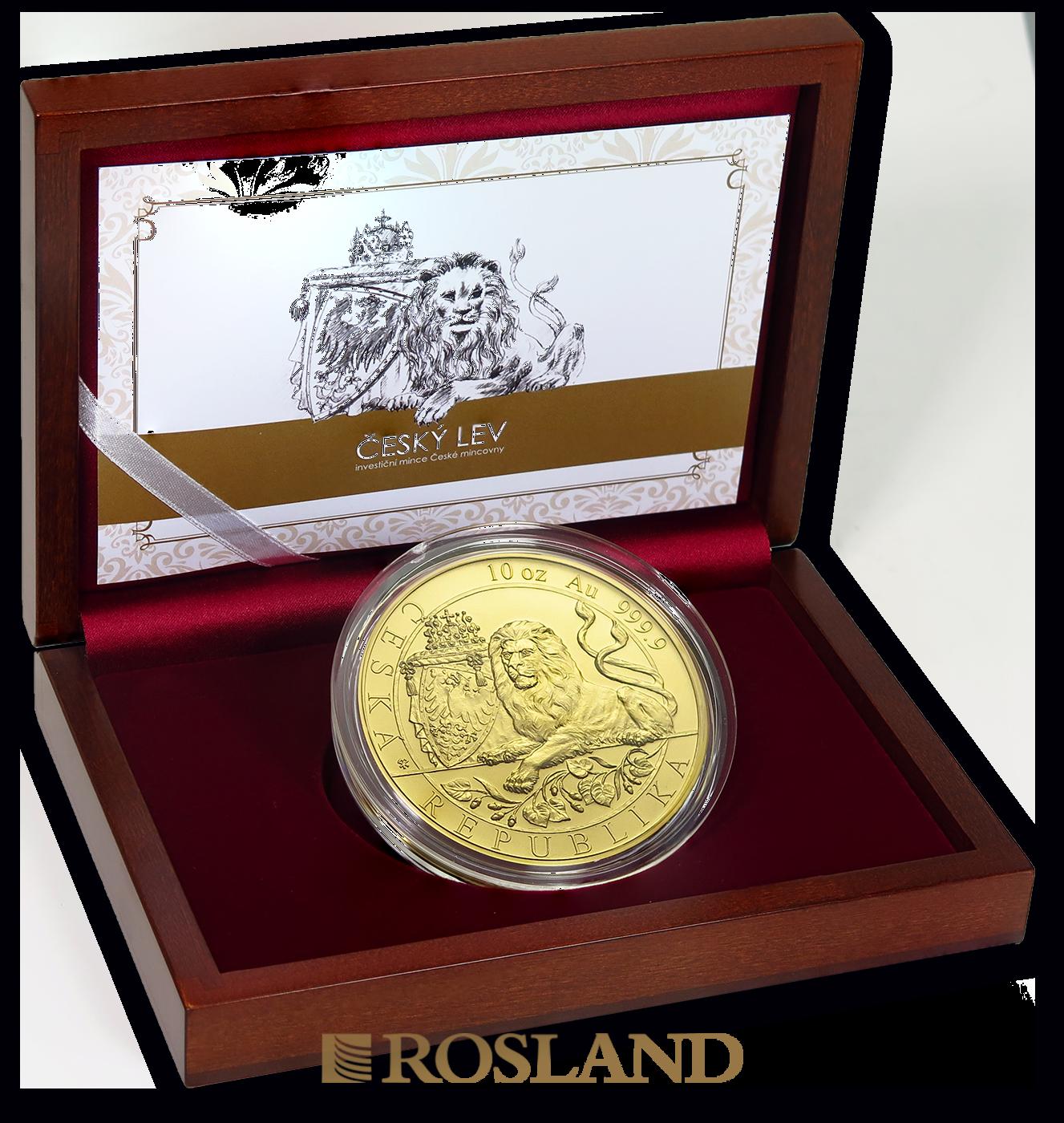 10 Unzen Goldmünze Tschechischer Löwe 2019 (Box, Zertifikat)