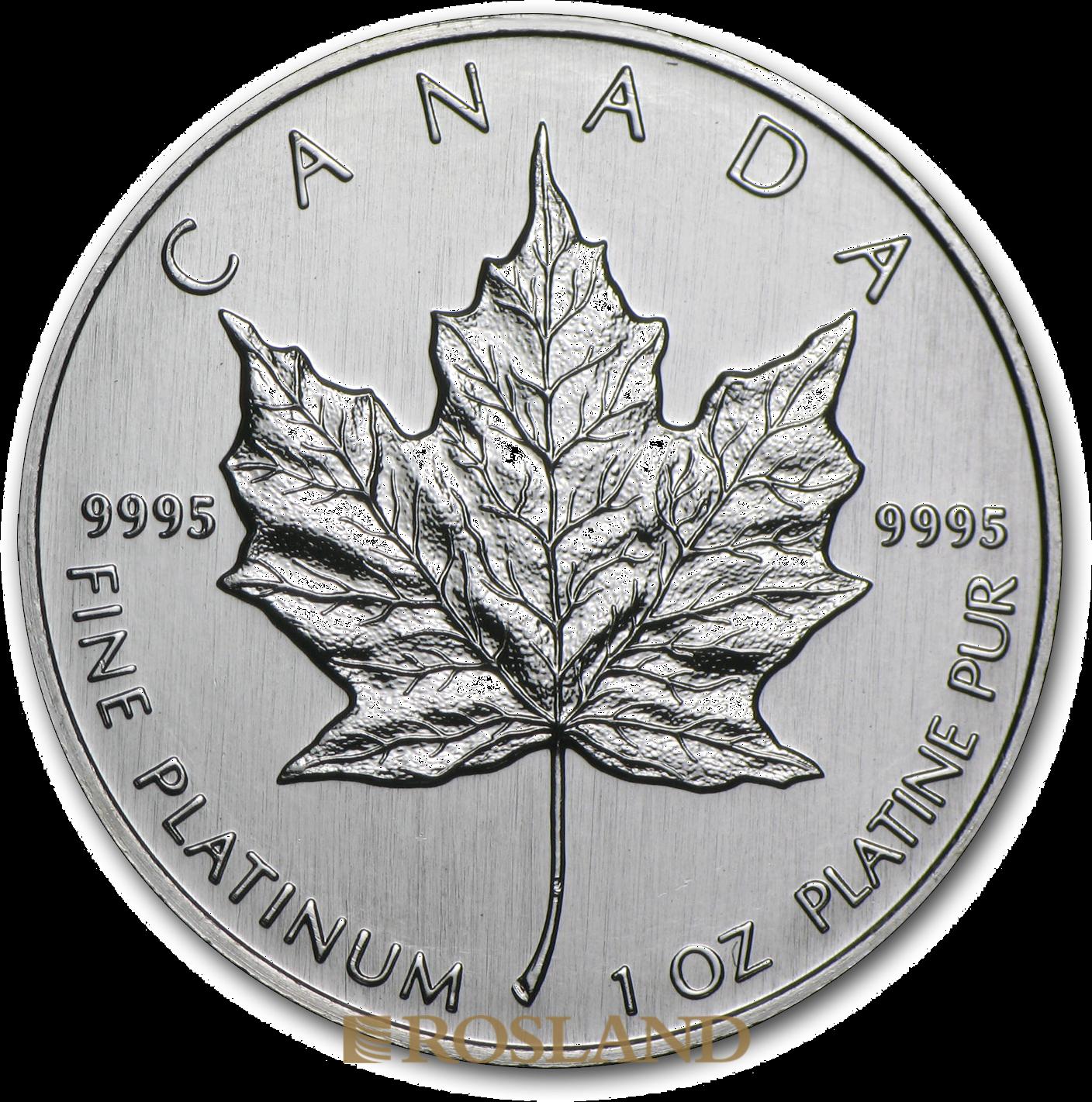 1 Unze Platinmünze Kanada Maple Leaf 1992