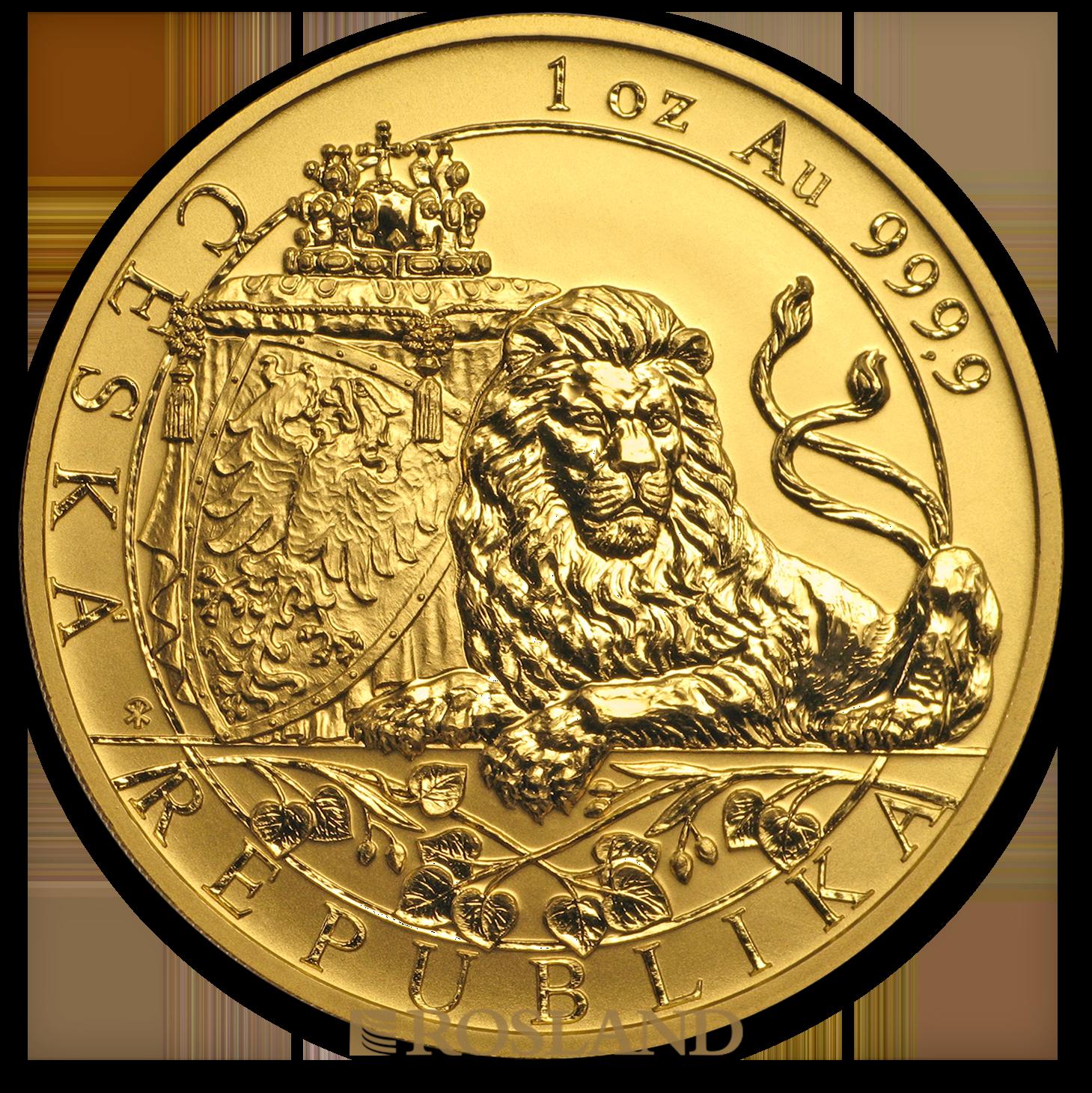 1 Unze Goldmünze Tschechischer Löwe 2018 PP