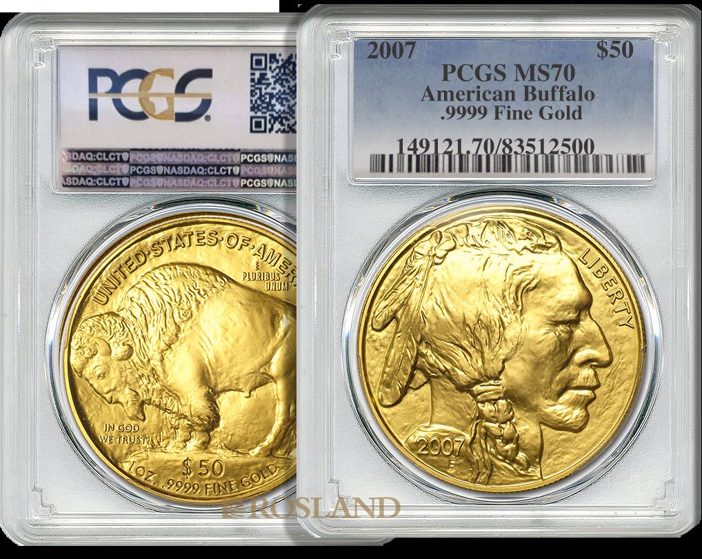 1 Unze Goldmünze American Buffalo 2007 PCGS MS-70