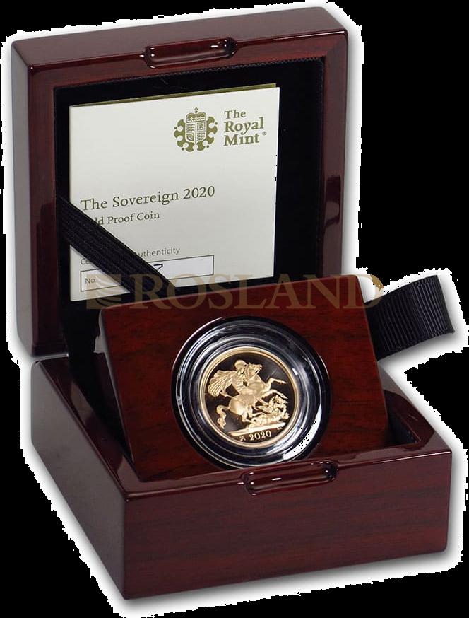 1 Sovereign Goldmünze Großbritannien 2020 PP (Box, Zertifikat)