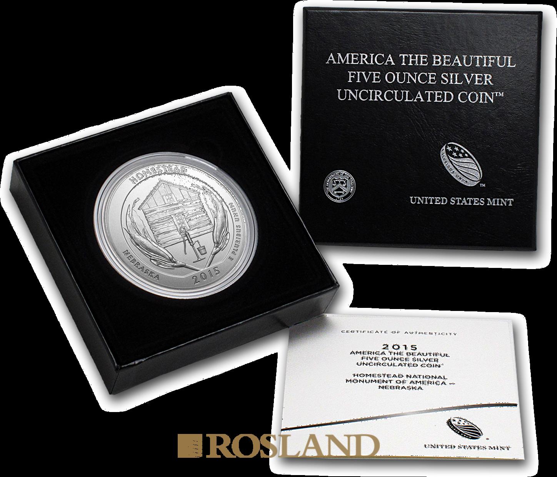5 Unzen Silbermünze ATB Homestead National Monument of America 2015 P (Box, Zertifikat)