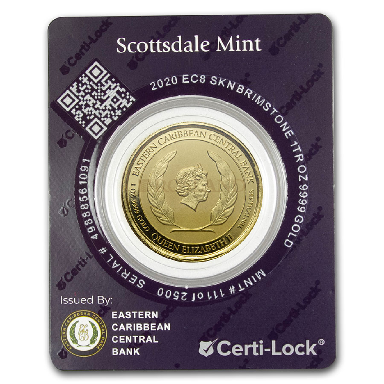 1 Unze Goldmünze EC8 St. Kitts & Nevis Brimstone Hill 2020 (Blister, Zertifikat)