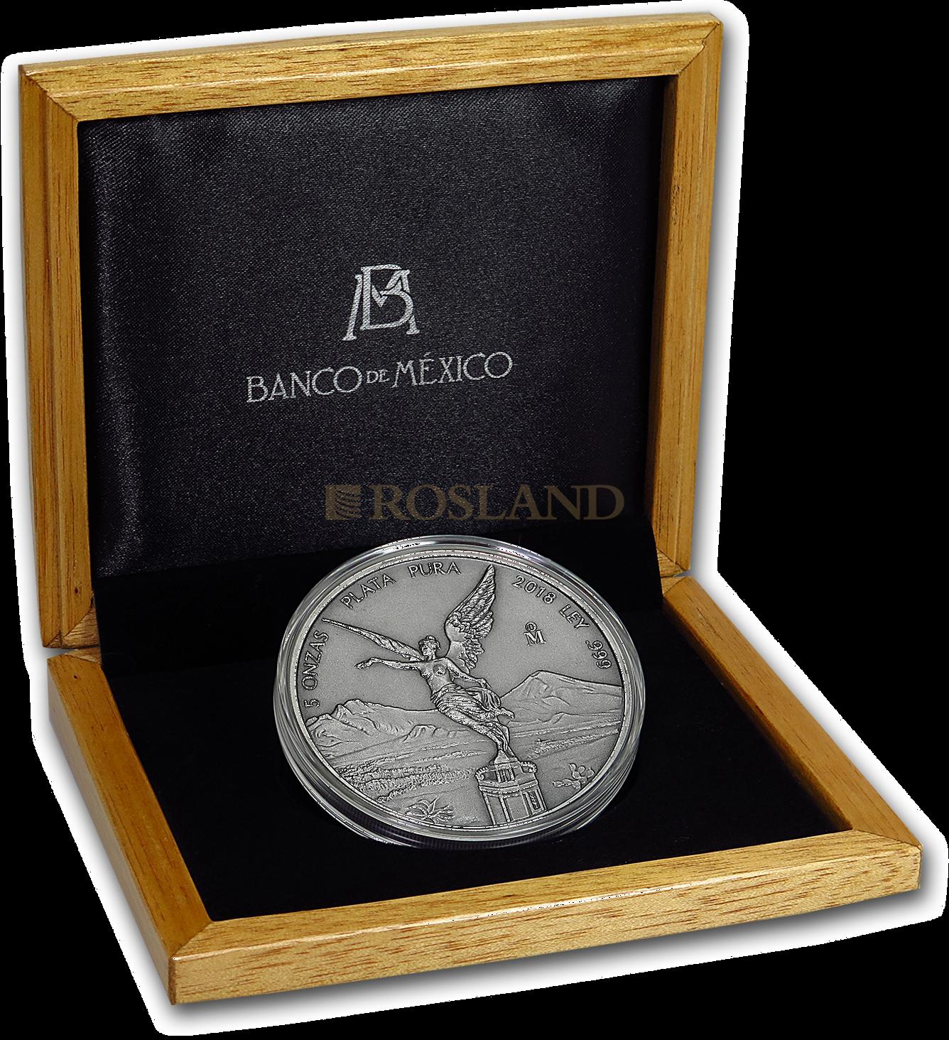 5 Unzen Silbermünze Mexican Libertad Antik Design 2018 (Box, Zertifikat)