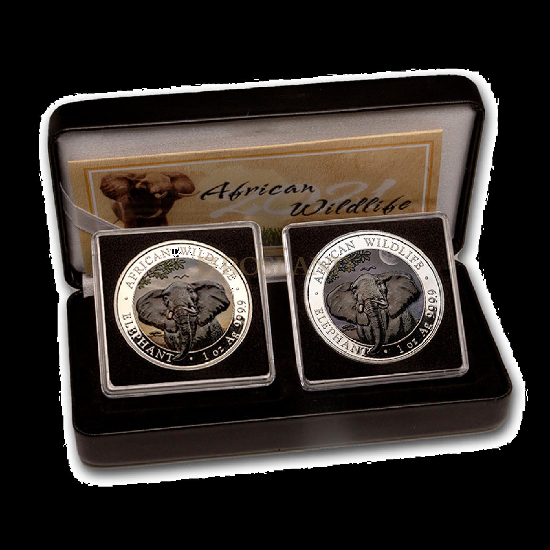 2 Silbermünzen Set Somalia Elefant Tag und Nacht 2021 (Box, Zertifikat, Koloriert)