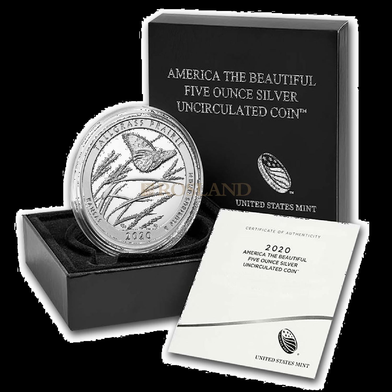 5 Unzen Silbermünze ATB Tallgrass Prairie National Preserve 2020 P (Box, Zertifikat)