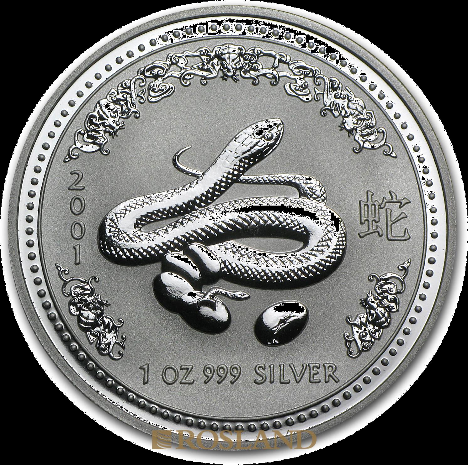 1 Unze Silbermünze Australien Lunar 1 Schlange 2001