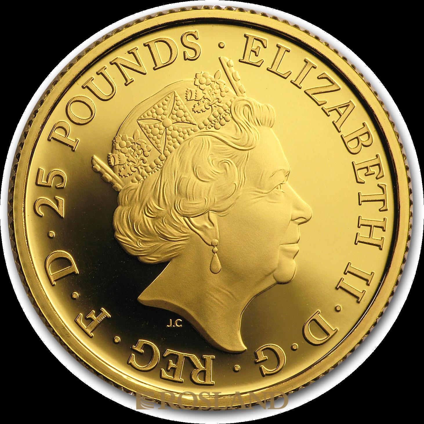 1/4 Unze Goldmünze Queens Beasts Falke 2019 PP (Box, Zertifikat)