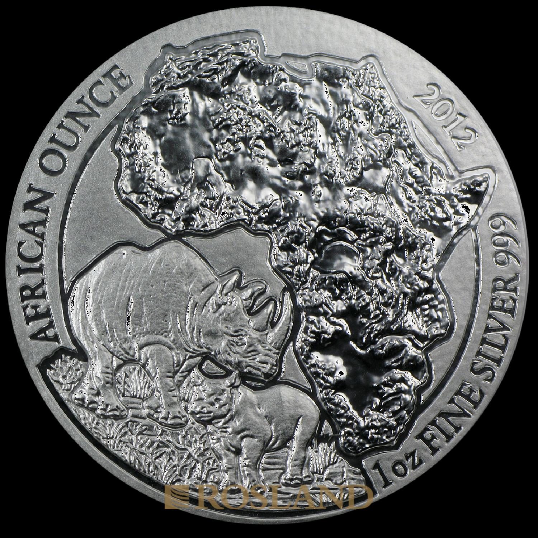 1 Unze Silbermünze Ruanda Wildlife Nashorn 2012
