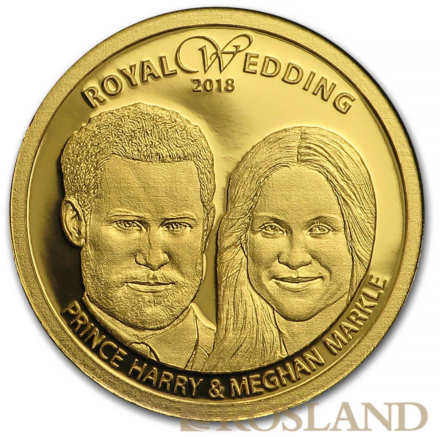 1/100 Unze Goldmünze Cook Islands Hochzeit Harry und Maghan 2018 PP