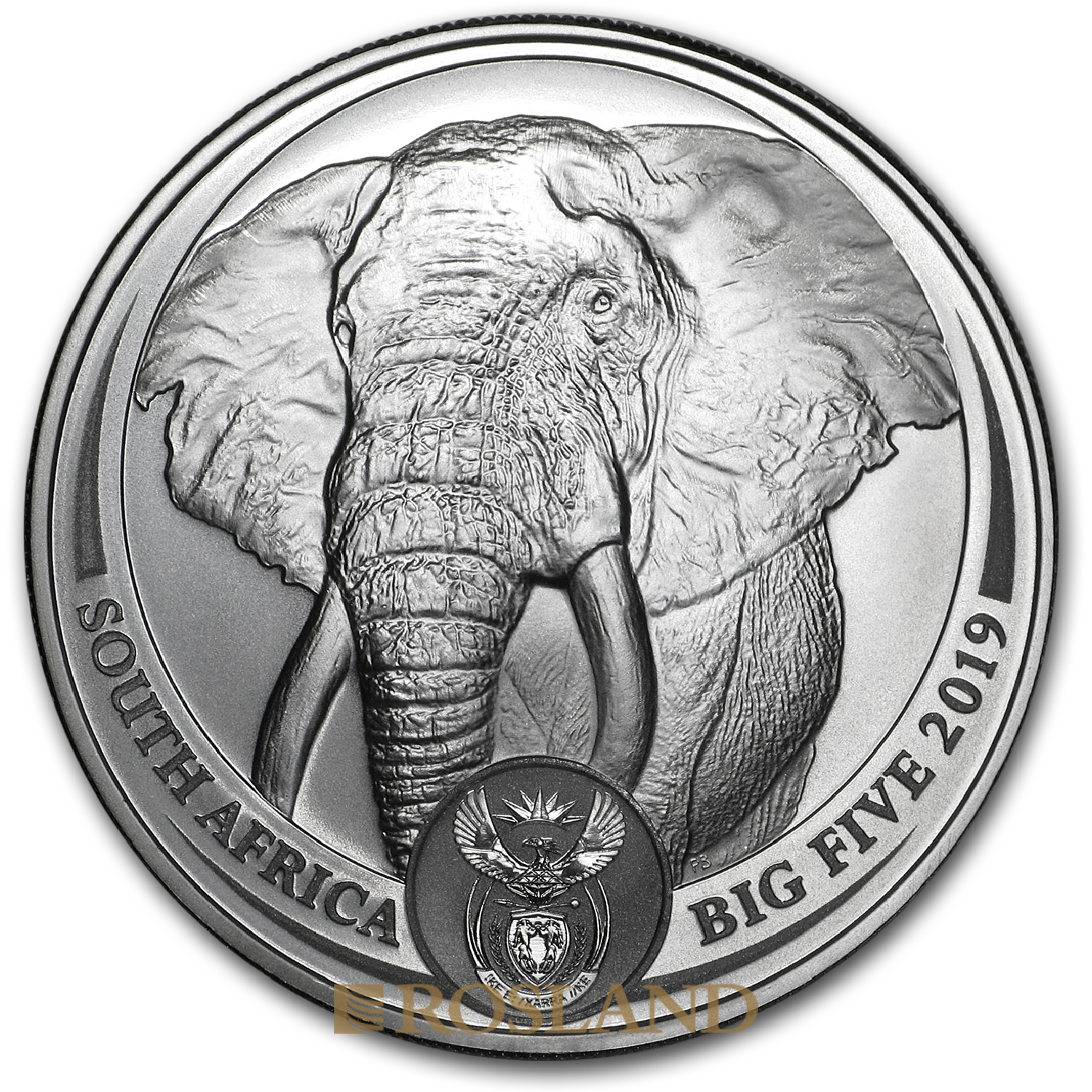 1 Unze Silbermünze Big Five Elefant 2019 (Box, Zertifikat)